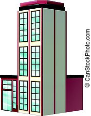 Architecture design for apartment building in red