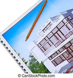 architecture design visualization with pencil on top of it