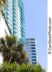 Architecture details of building in Miami Beach, Florida. Residential buildings along waterway.