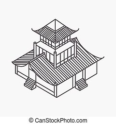 Architecture element in Oriental style. Outline Isometric Pagoda house. Chinese and japanese landmark