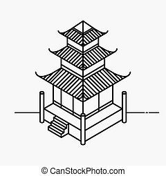 Architecture element in Oriental style. Outline Isometric...