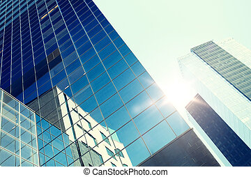 close up of office building or skyscraper and sky