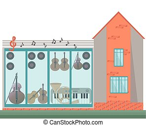 Architecture facade of a music house. Vector illustration background