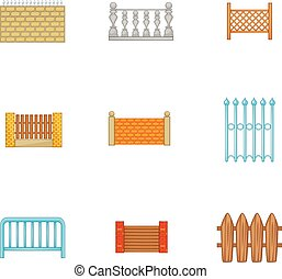 Architecture fences icons set, cartoon style
