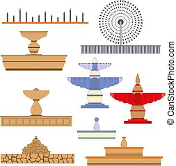 Architecture fountain set image. Vector illustration