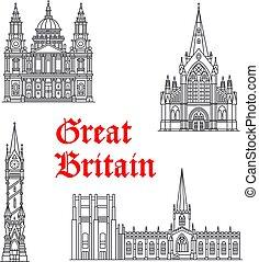 Architecture Great Britain vector landmarks