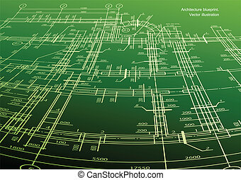 Architecture house plan green background. Vector