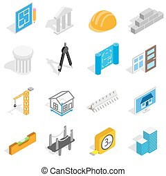 Architecture icons set, isometric 3d style