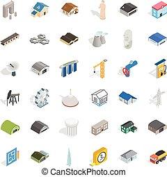 Architecture icons set, isometric style