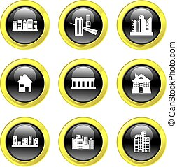 architecture icons - set of architectural black glass icons...