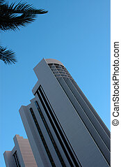 Architecture image of a contemporary hotel in Honolulu, Hawaii, with copy space