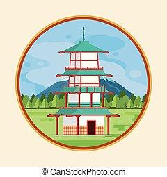 architecture, japonaise, nature