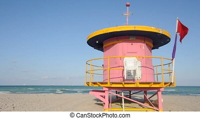 iconic architecture pink lifeguard station south beach Miami Florida