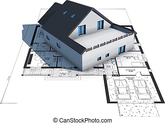 Vector of a house on top of architecture blueprints