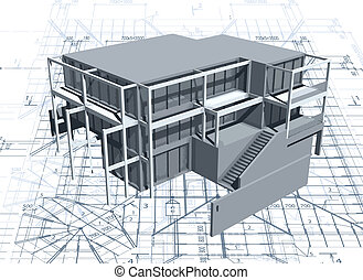 Architecture model house with blueprint. Vector illustration
