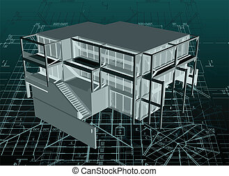 Architecture model house with blueprint. Vector