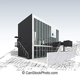 Architecture model house with plan and blueprints. Vector...