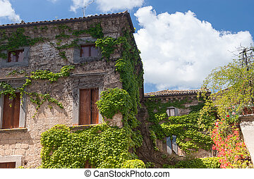 Architecture of Bagnoregio near Viterbo, Lazio - Italy