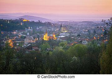 Architecture of Brasov at sunrise