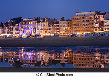Architecture of Dunkirk at night. Dunkirk, Hauts-de-France, France.