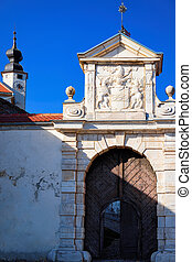 Architecture of gate in Ptuj Castle in Slovenia. Ptujski ...