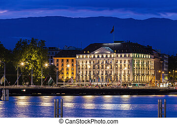 Architecture of Geneva at night