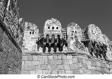 Architecture of historic Golconda fort, stone and mortar built in 16th century at Hyderabad, India