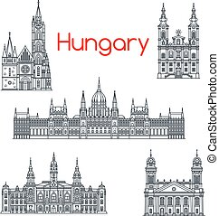 Architecture of Hungary buildings vector icons - Hungary...