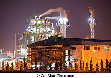 Industry boiler in Oil Refinery Plant at night