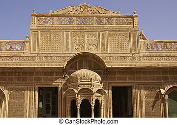 Architecture of Jaisalmer - Intricately carved facade of the...