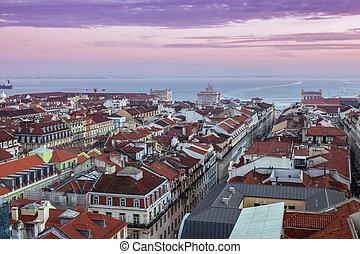 Architecture of Lisbon at sunrise