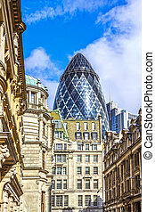 Architecture of London, business district, futuristic design...