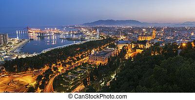 Architecture of Malaga at evening. Malaga, Andalusia, Spain.