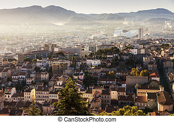 Architecture of Marseille - aerial view at sunrise