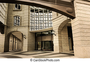 Architecture of modern building exterior with beautiful windows and door.