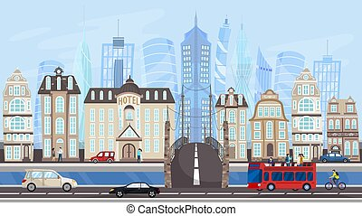 Architecture of modern metropolis, city buildings and traffic, vector illustration