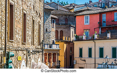 Architecture of Narni, an ancient hilltown and comune of Umbria, in central Italy