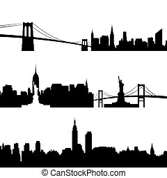 Architecture of New York - Contours of buildings and...