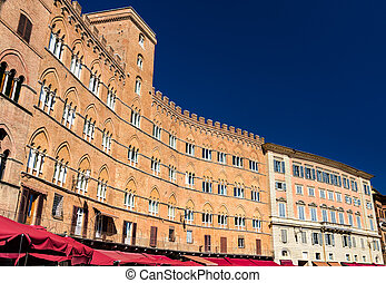 Architecture of Piazza del Campo in Siena - Tuscany, Italy