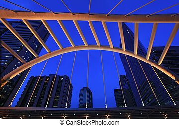 architecture of pubic skywalk at bangkok downtown square...