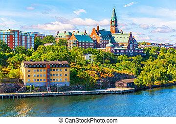 Architecture of Stockholm, Sweden - Scenic summer panorama...