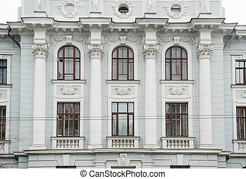 architecture of the historic building with Windows and columns