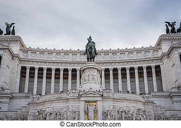 Architecture of the Monument to Vittorio Emanuele II with the Italian flag in Rome