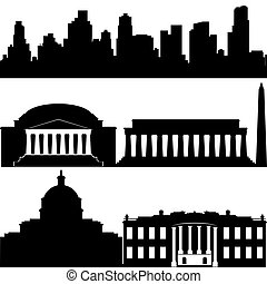 Architecture of Washington - Contours of buildings and...