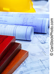 Architecture paperwork and wooden boards