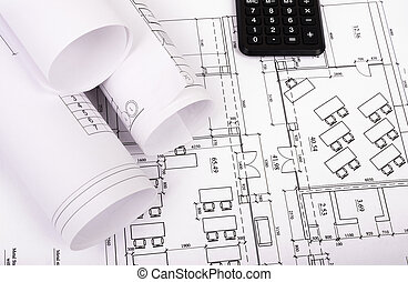 Architecture plan and rolls of blueprints