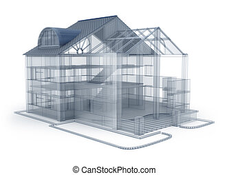 Architecture plan house, transparent model