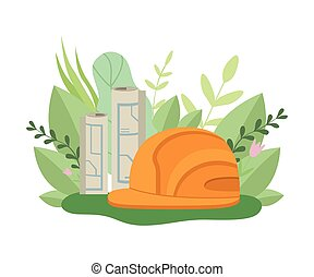 Architecture Plan, Orange Safety Hard Hat, Spring or Summer Season with Blooming Flowers and Leaves Vector Illustration