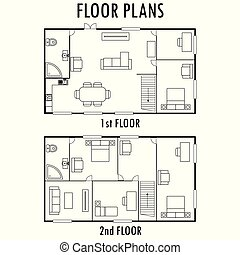 Architecture plan with furniture. House First and second...