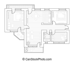 Architecture plan of flat with furniture in blueprint style architecture plan with furniture in top view coloring book malvernweather Choice Image